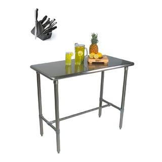 John Boos BBSS483024-40 Cucina Americana Classico 48 x 30 x 40 Table and Henckels 13-piece Knife Block Set