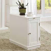 Havenside Home Atlantic White Accent Cabinet with Beverage Tray
