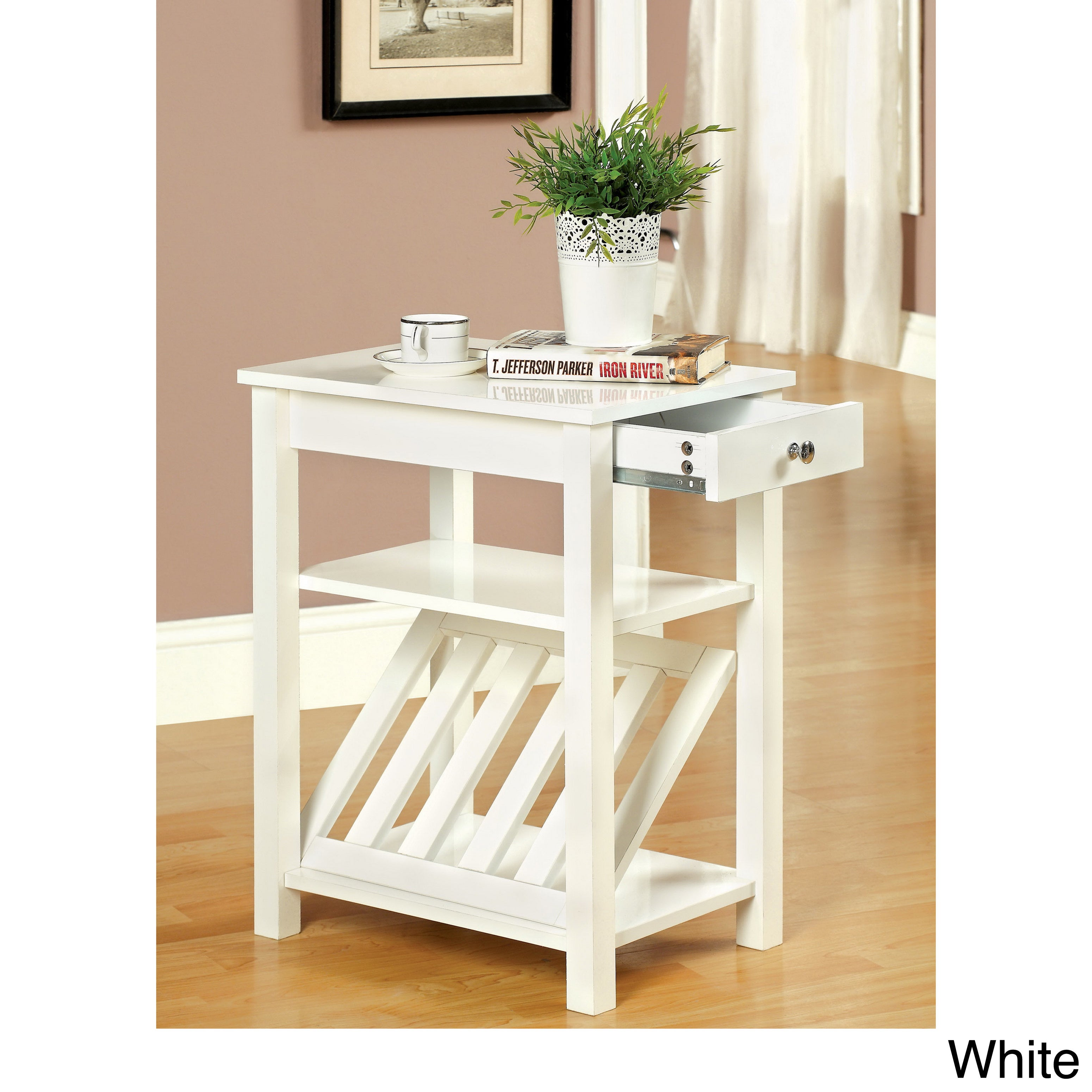 Furniture of America Corin Accent Table with Storage Draw...