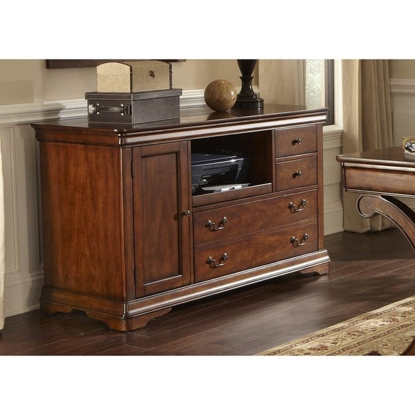 Rustic Cherry 52 Inch Mobile Credenza Free Shipping
