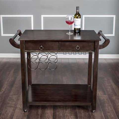 Copper Grove Carrick Dark Walnut Vintage Kitchen Cart with Wine Rack on Wheels