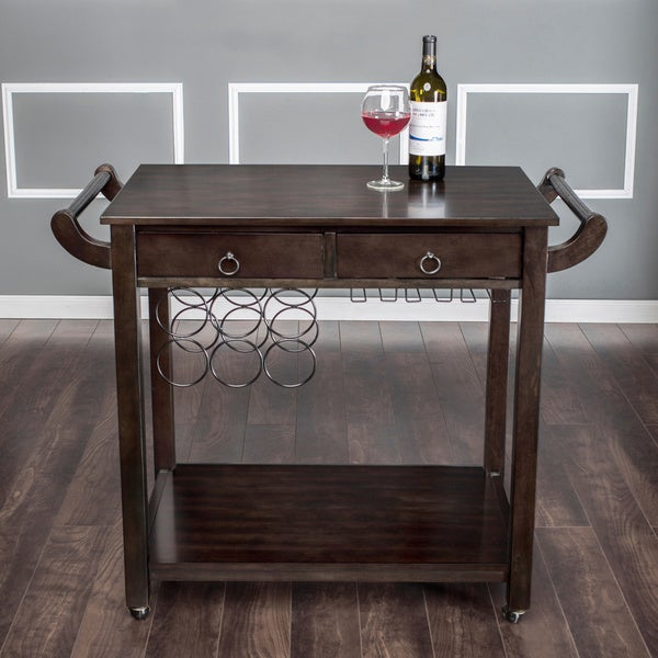 Furniture Of America Dark Walnut Vintage Kitchen Cart With Wine Rack On  Wheels