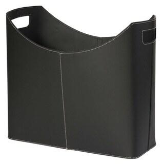 Contemporary Black Leather Magazine Basket