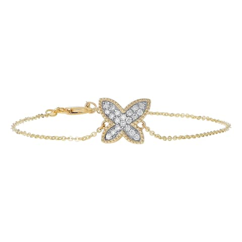 14k Gold 1/5ct TDW Diamond Butterfly Adjustable Bracelet by Beverly Hills Charm