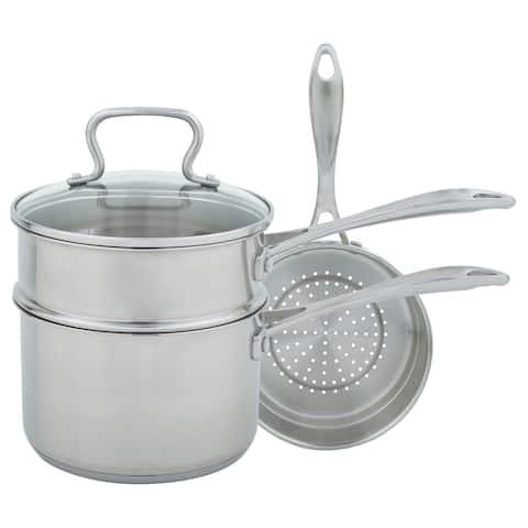 Range Kleen Multi Pan - Sauce Pan/Glass lid/Steamer/ Dbl Boiler Insert