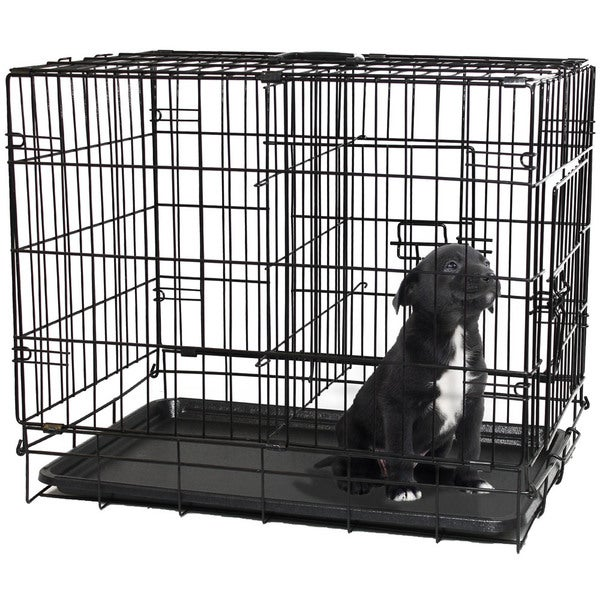oxgord double door black metal pet crate free shipping on orders over 45