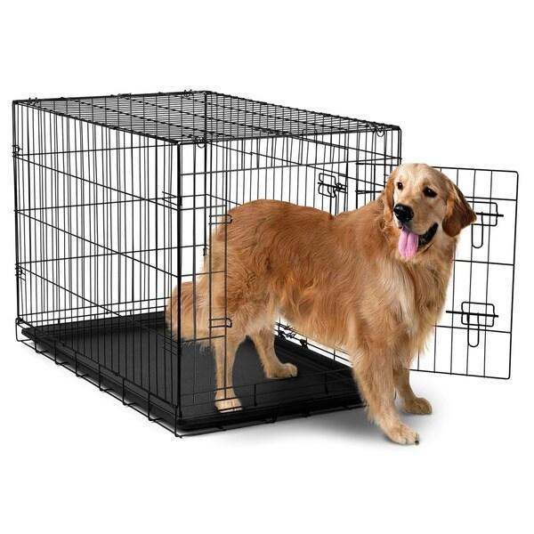 oxgord double door black metal pet crate