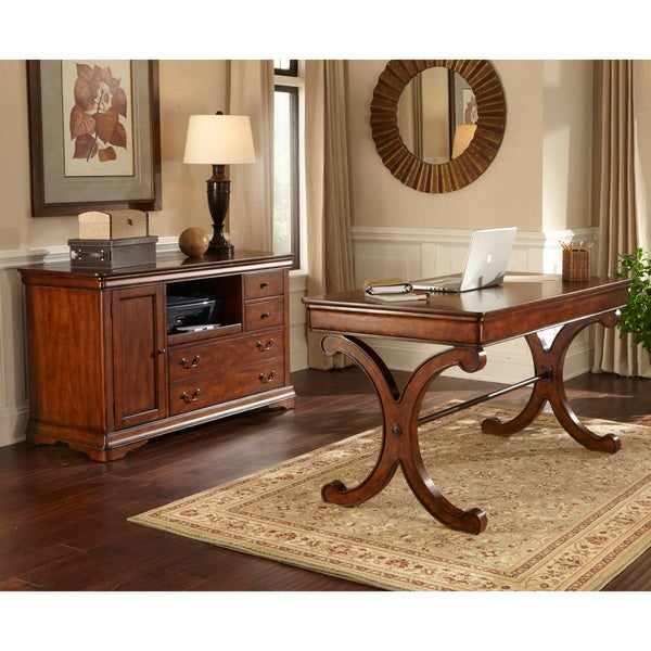 home office set. liberty rustic cherry 2piece home office set e