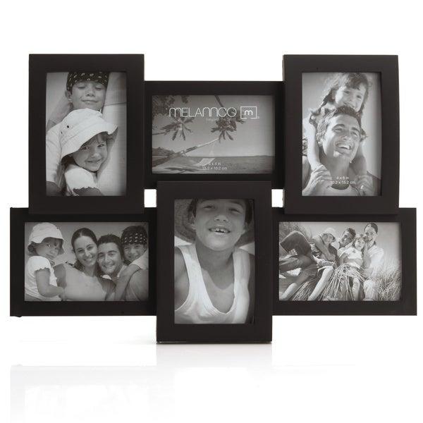 Melannco Black 6-opening Frame (Three 6x4-inch, three 4x6 ...