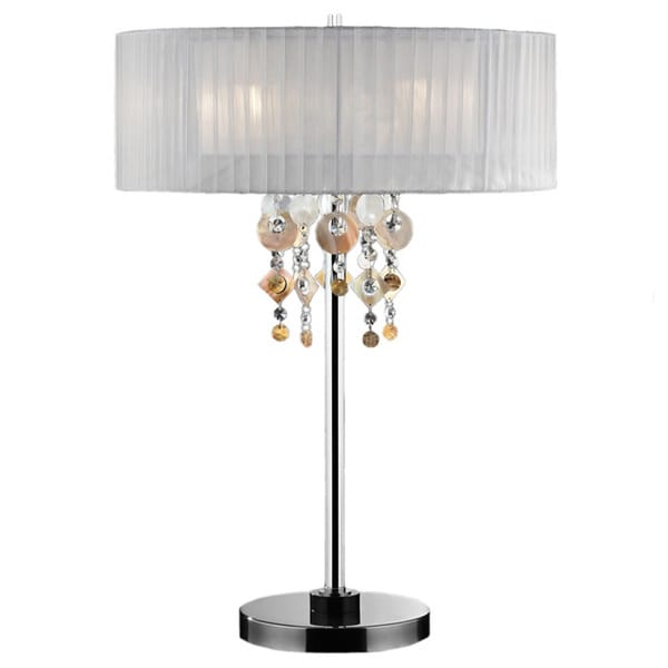 29-inch Moon Jewel Chrome/ White Table Lamp
