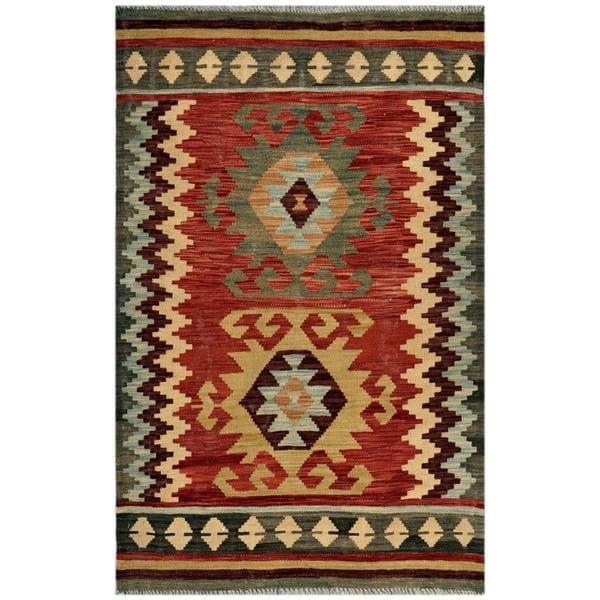Afghan Hand-woven Kilim Red/ Green Wool Rug (3'1 x 4'9)
