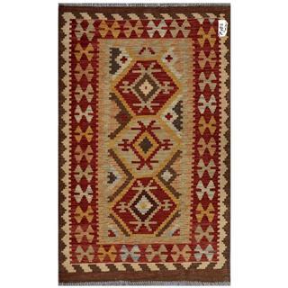 Herat Oriental Afghan Hand-woven Wool Kilim (3'2 x 5')