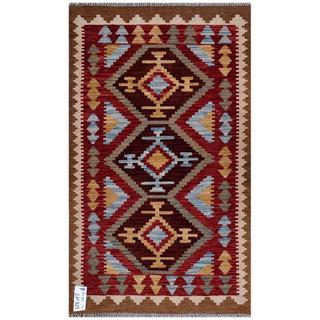 Herat Oriental Afghan Hand-woven Kilim Red/ Brown Wool Rug (2'6 x 4'6)