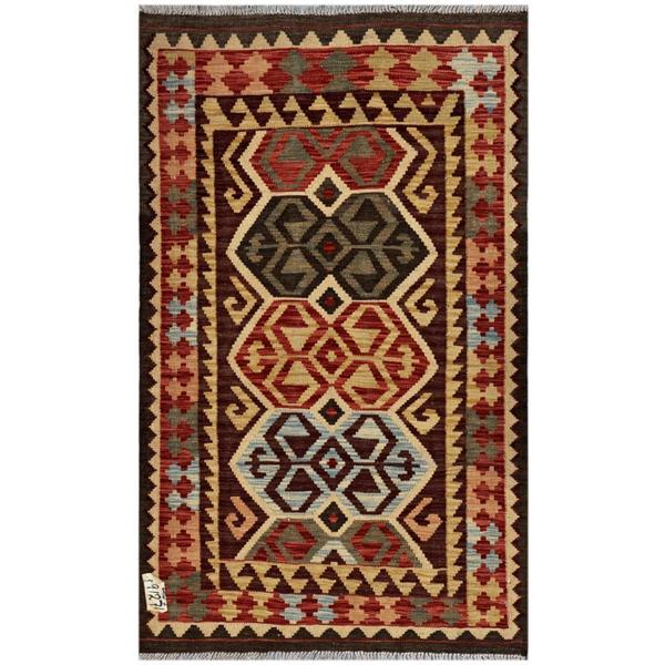 Herat Oriental Afghan Hand-woven Kilim Brown/ Red Wool Rug (3' x 4'10)