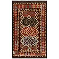 Handmade Herat Oriental Afghan Wool Kilim  - 3' x 4'10 (Afghanistan)
