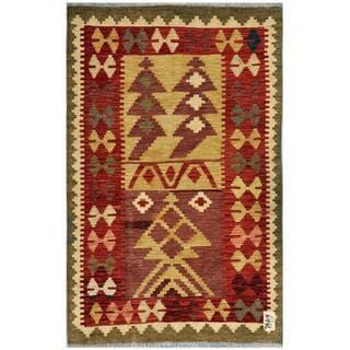 Herat Oriental Afghan Hand-woven Wool Kilim (3'1 x 4'9)