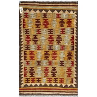 Herat Oriental Afghan Hand-woven Wool Kilim (2'11 x 4'9)
