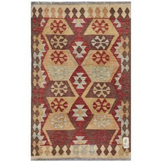 Herat Oriental Afghan Hand-woven Wool Kilim (3'2 x 4'9)