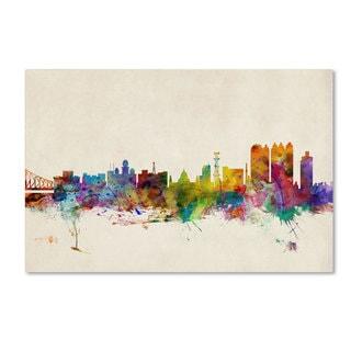 Michael Tompsett 'Calcutta Watercolor Skyline' Canvas Art