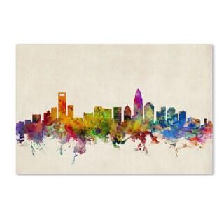 Michael Tompsett 'Charlotte Watercolor Skyline' Canvas Art
