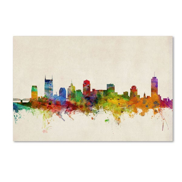Michael Tompsett 'Nashville Watercolor Skyline' Canvas Art - Multi