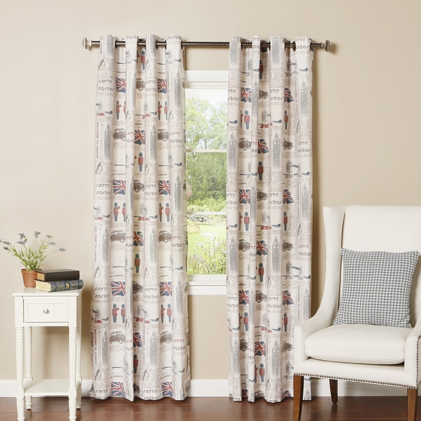 Aurora Home London Print Grommet Top Oxford Curtain Panel Pair