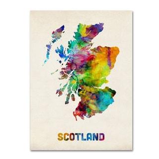 Michael Tompsett 'Scotland Watercolor Map' Canvas Art