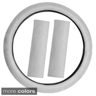 Oxgord Memory Foam Steering Wheel Cover with Seat Belt Pads Set