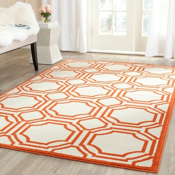 8x10 Indoor Outdoor Area Rugs: Safavieh Amherst Indoor/ Outdoor Ivory/ Orange Rug