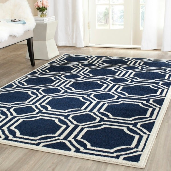 Safavieh Amherst Indoor Outdoor Navy Ivory Rug 8 X 10