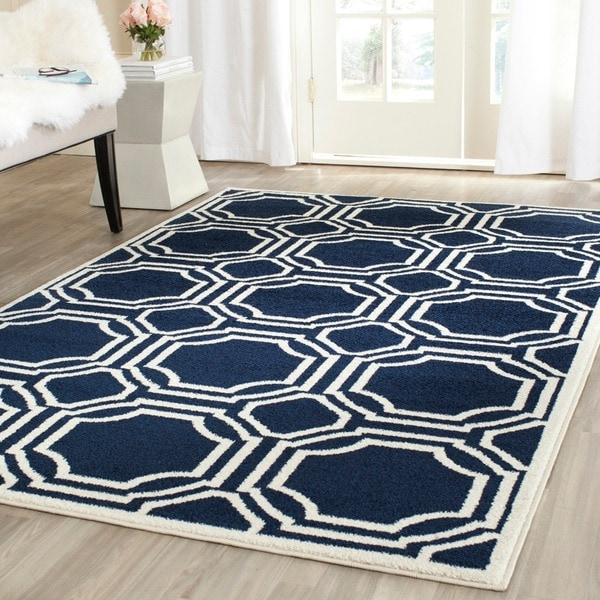 8x10 Indoor Outdoor Area Rugs: Safavieh Amherst Indoor/ Outdoor Navy/ Ivory Rug