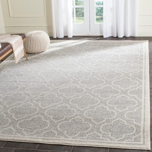 Shop Safavieh Amherst Indoor Outdoor Light Grey Ivory Rug 8 X