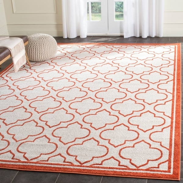 8x10 Indoor Outdoor Area Rugs: Shop Safavieh Amherst Indoor/ Outdoor Ivory/ Orange Rug
