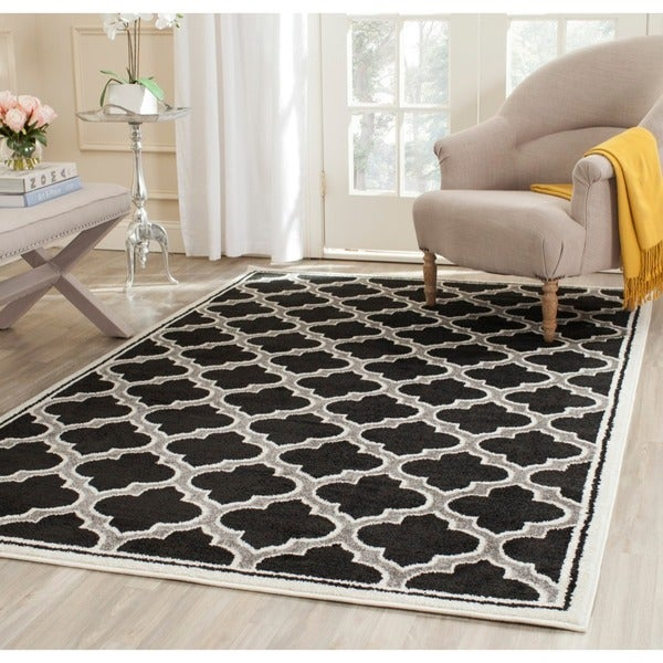 Safavieh Amherst Indoor/ Outdoor Anthracite/ Ivory Rug - 8' x 10'