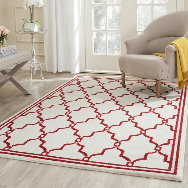 Safavieh Amherst Indoor/ Outdoor Ivory/ Red Rug - 8' x 10'