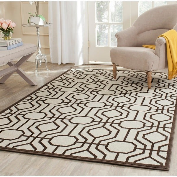 8x10 Indoor Outdoor Area Rugs: Safavieh Amherst Indoor/ Outdoor Ivory/ Brown Rug