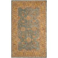 Safavieh Handmade Anatolia Oriental Blue/ Green Hand-spun Wool Rug - 5' x 8'