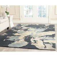 Safavieh Handmade Bella Modern Abstract Steel Blue Wool Rug - 6'7 x 9'