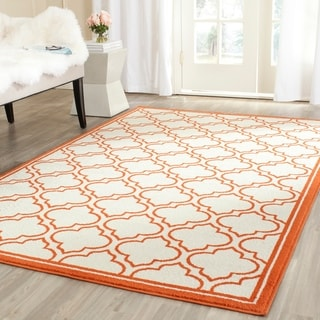 Safavieh Amherst Indoor/ Outdoor Ivory/ Orange Rug (5' x 8')