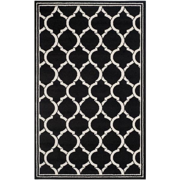 Safavieh Amherst Indoor/ Outdoor Anthracite/ Ivory Rug (5' x 8')