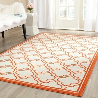 Safavieh Amherst Indoor/ Outdoor Ivory/ Orange Rug (4' x 6')