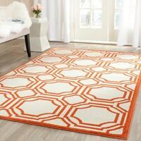 Safavieh Amherst Indoor/ Outdoor Ivory/ Orange Rug - 4' x 6'