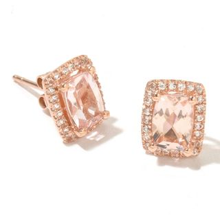 14k Rose Gold Morganite and Diamond Cut White Topaz Cushion-cut Stud Earrings
