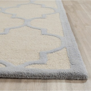 Safavieh Handmade Moroccan Cambridge Ivory/ Light Blue Wool Rug (2' x 3')