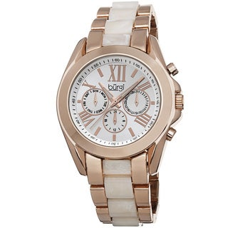 Burgi Women's Multifunction Day Date and 24 Hour-Indicator Rose-Tone Bracelet Watch with FREE GIFT