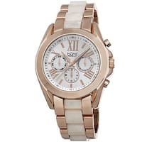 Burgi Women's Multifunction Day Date and 24 Hour-Indicator Rose-Tone Bracelet Watch with FREE Bangle