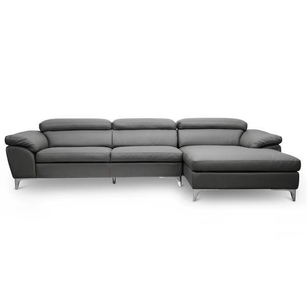 Baxton Studio Voight Gray Modern Sectional Sofa Right