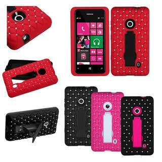 INSTEN Diamante Symbiosis Stand Phone Case Cover for Nokia Lumia 521