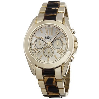 Burgi Women's Multifunction Day Date and 24 Hour-Indicator Gold-Tone Bracelet Watch with FREE Bangle