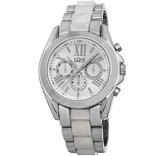 Burgi Women's Multifunction Day Date and 24 Hour-Indicator Silver-Tone Bracelet Watch with FREE GIFT